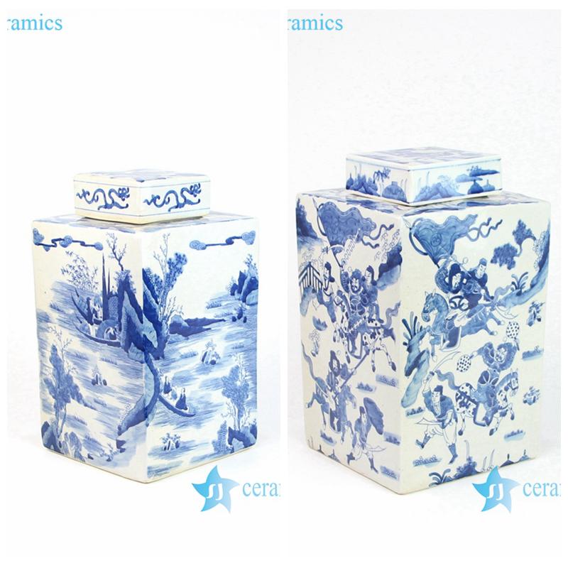 RYQQ10-C/D Shengjiang company handmade blue and white square porcelain jar