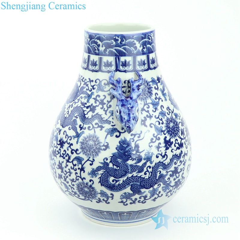 dragon flying among flower porcelain vase