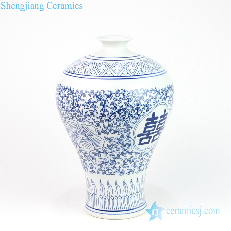 curled withe and orchid porcelain vase