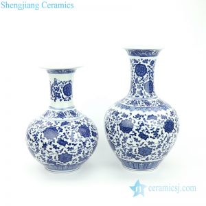 RYUJ25-26 China factory made cheap blue floral ceramic vase