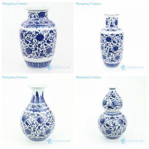 RYUJ27-30 Jingdezhen blue interlock floral ceramic vase