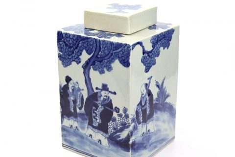 RYUK33 Jingdezhen blue and white figure and tree pattern hand painting porcelain jar