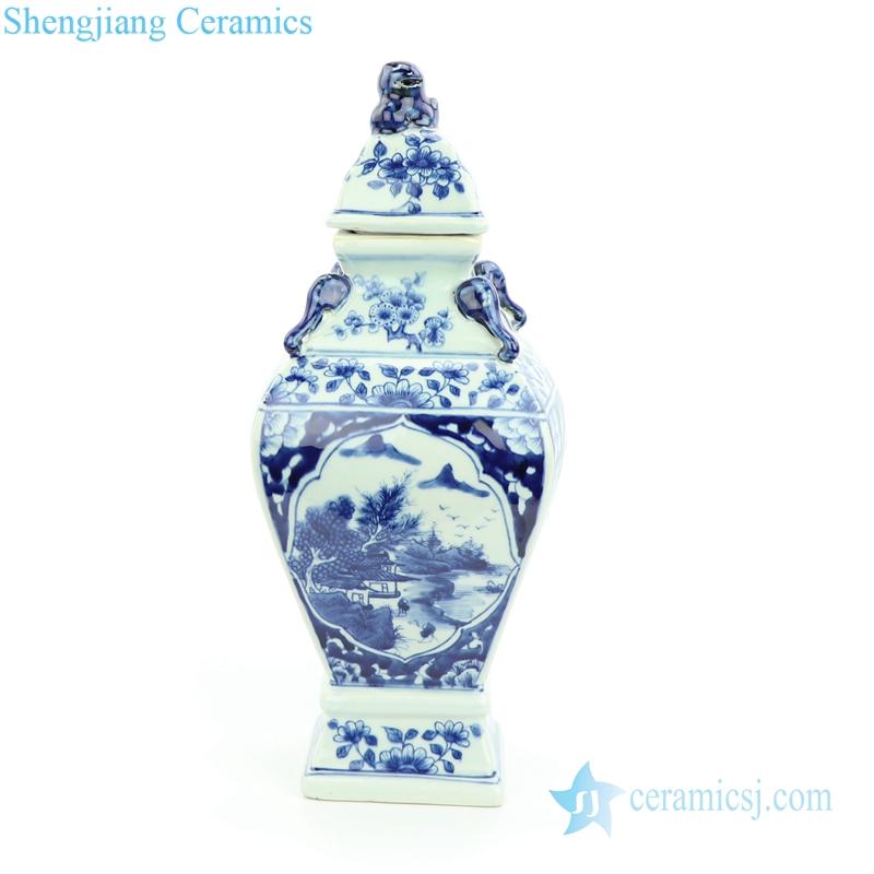 lion tip blue and white jar