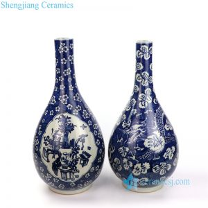 RYWD24-A/B Dark blue background dragon and flowers pattern porcelain vase