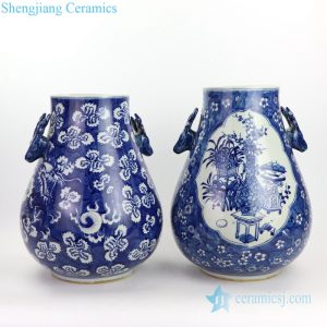 RYWD31-A/B Goat handle blue background white vase dragon pattern ceramic masterpiece vase