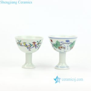 RYYM08-A/B White background bird and grape pattern porcelain goblet teacup