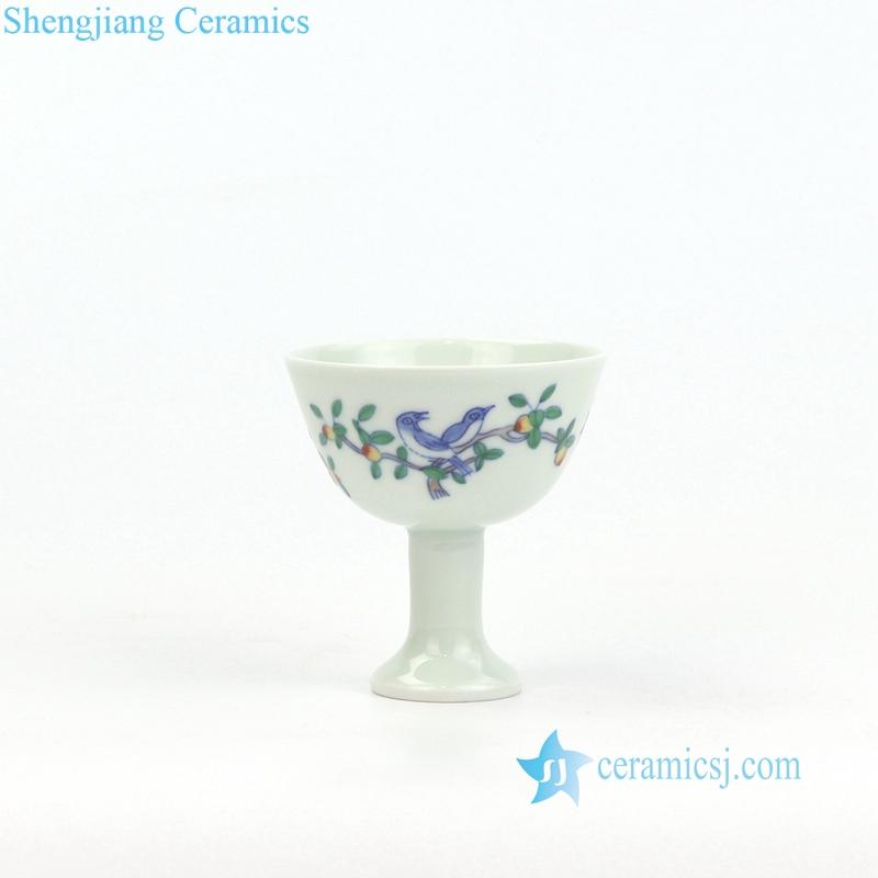 bird and flower pattern porcelain teacup