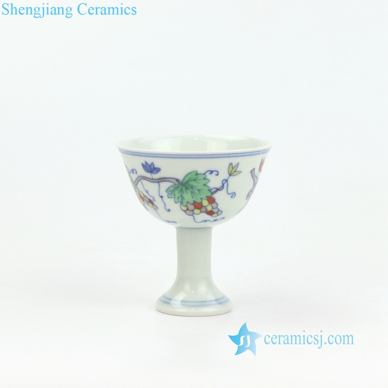 small size grape pattern teacup