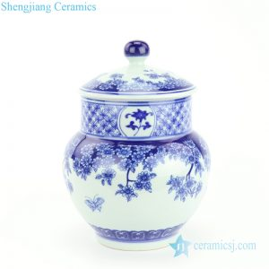 RZBV07 Blue and white Japan style flower butterfly ceramic jar