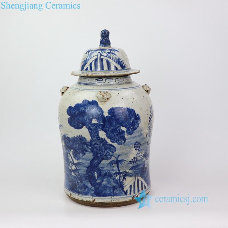 old style landscape porcelain jar