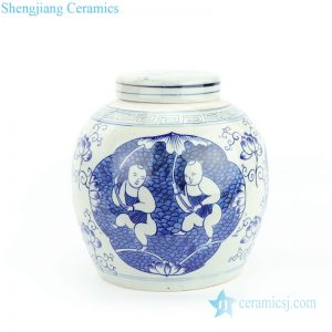 RZFZ05-K Hand painted blue kid holding lotus ceramic jar