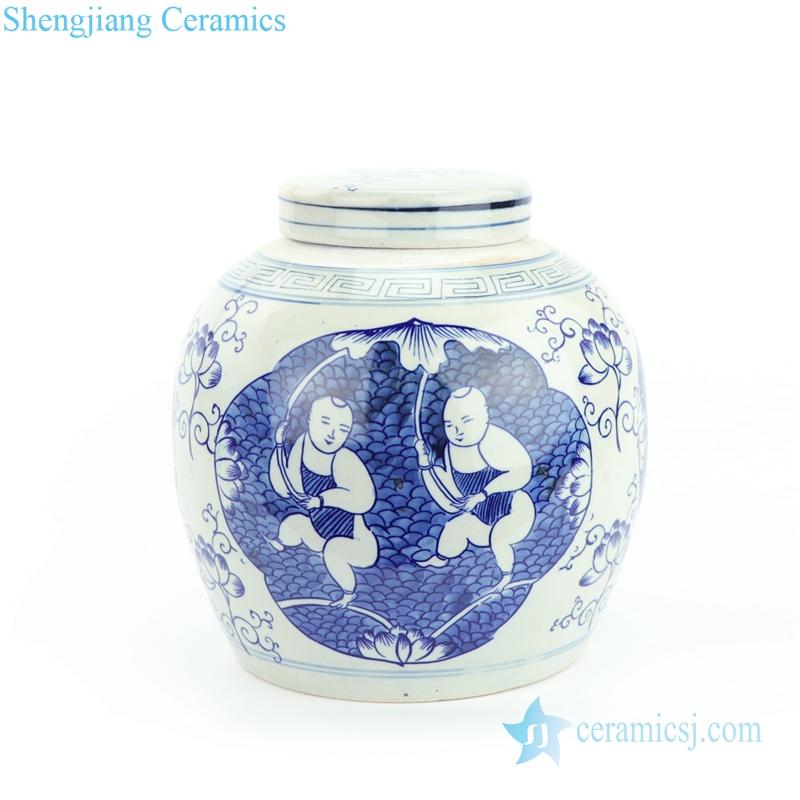 kid holding lotus ceramic jar