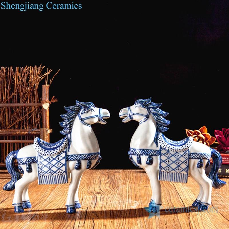 blue and white horse figurine