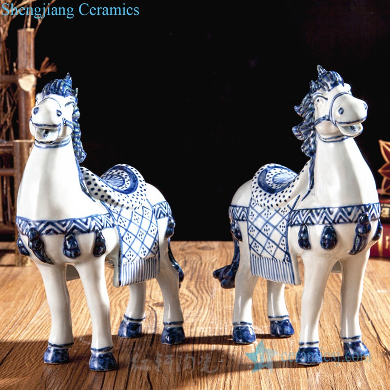 blue and white horse figurine