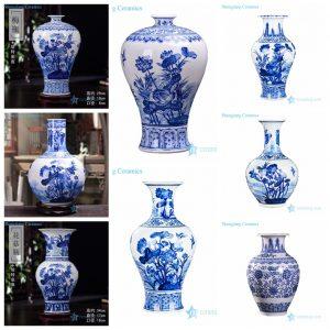 RZKD03-23 Blue lotus pattern Jingdezhen style ceramic vases