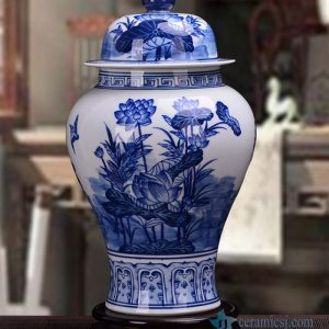 RZKD21 Aisan blue and white lotus ginger jar made in porcelain