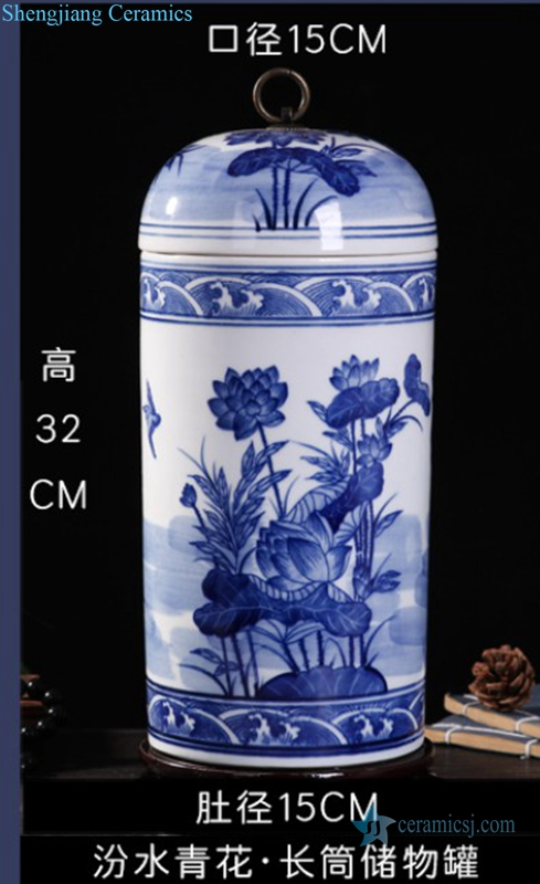 porcelain column shape lotus jar