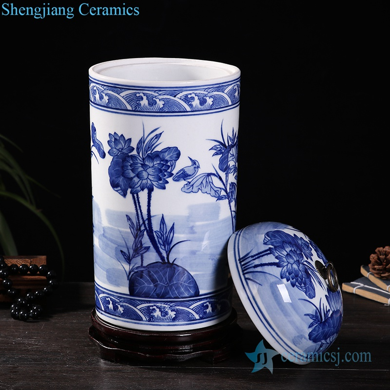 RZKD25 Metal ring handle porcelain column shape lotus jar