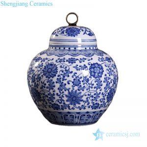 RZKD26 Brass ring handle on top chrysanthemum porcelain jar