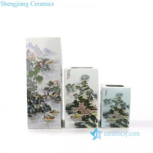 RZNW3023 Hand painted colorful landscape porcelain set of 3 vases