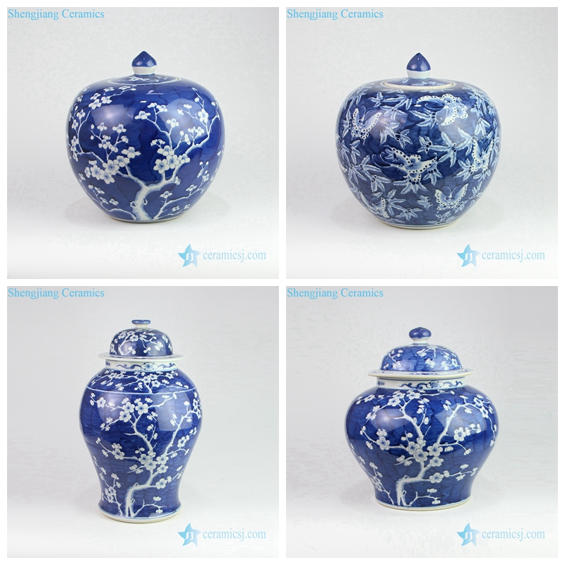 deep blue ceramic jar with white flower pattern