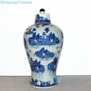 RZOY01 China water town blue and white big porcelain jar