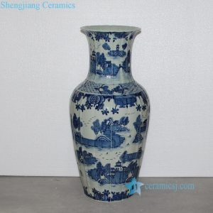 RZOY02 China pagoda lake pattern hand drawing porcelain vase with arris