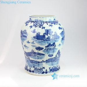 RZOY05 Elegant blue ancient China water town architecture vase