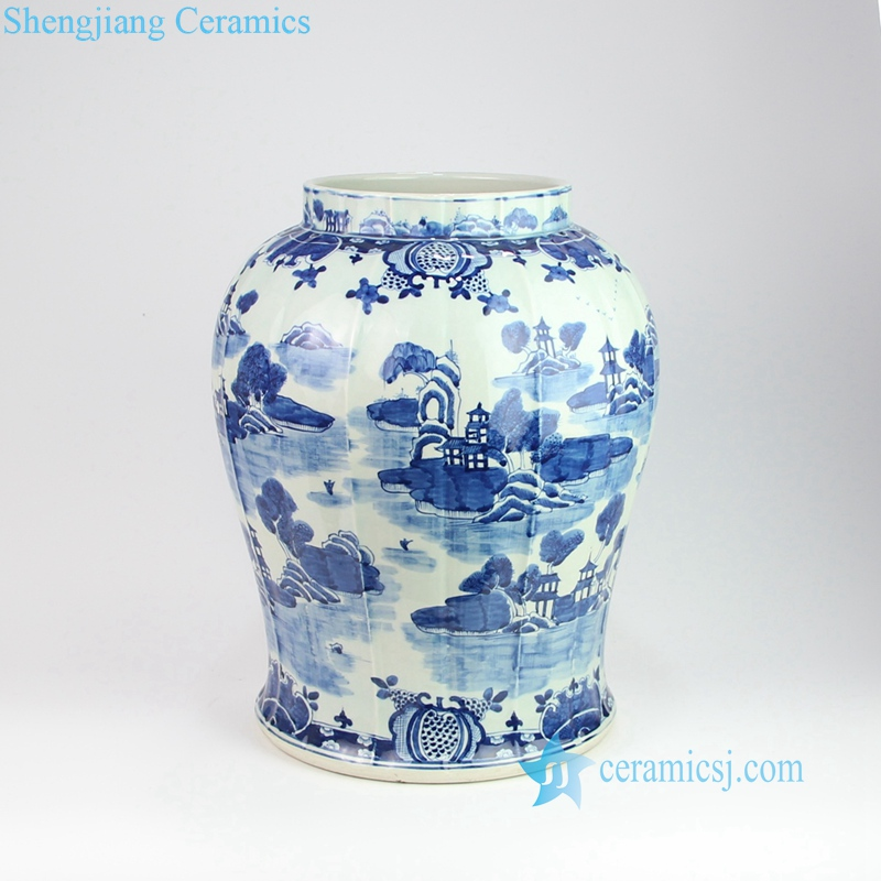 ancient China water town architecture vase
