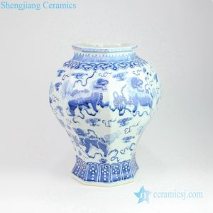 RZOY06 Blue and white hand craft lion playing silk ball porcelain vase