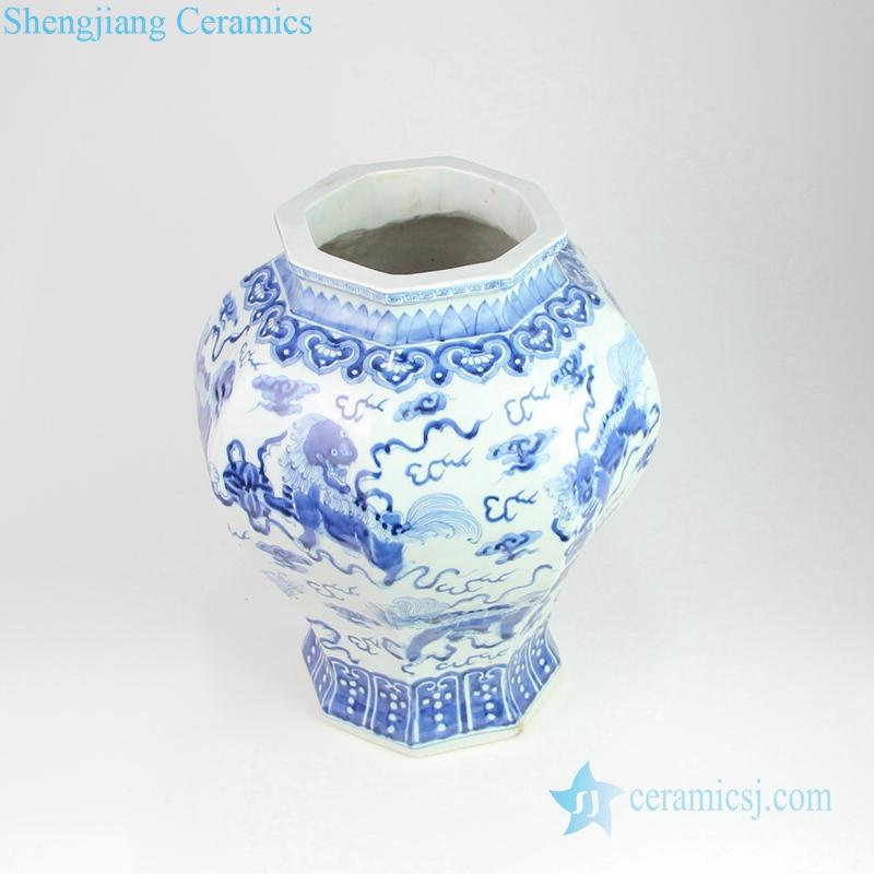 lion playing silk ball porcelian vase