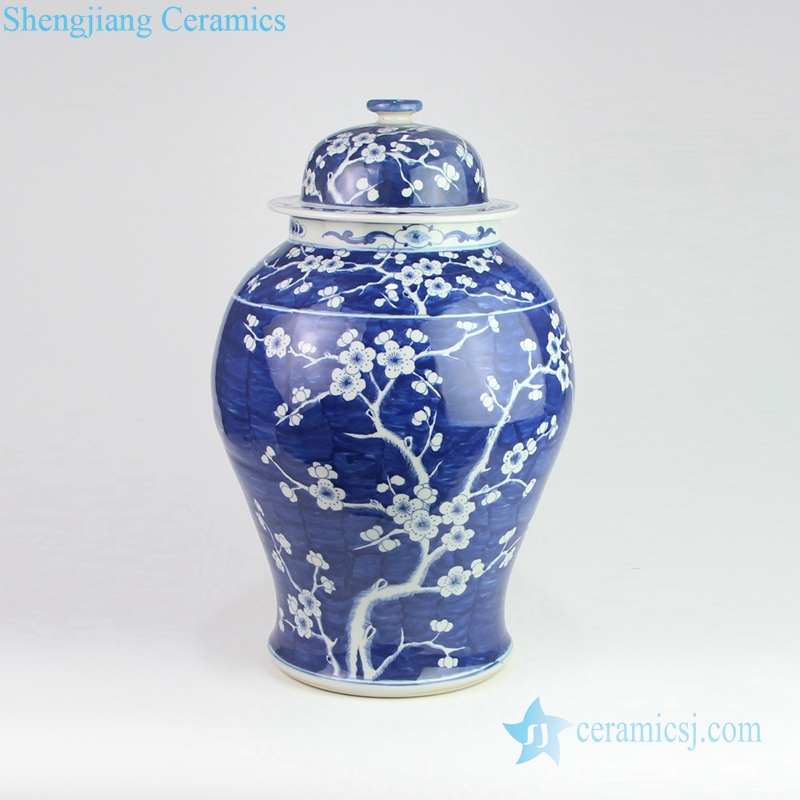 ceramic temple jar in deep blue