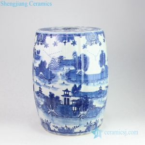 RZOY10 Blue and white hand drawn ancient China life pattern porcelain arris stool