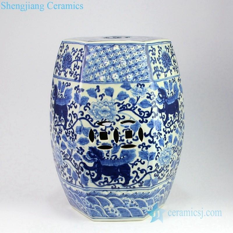 floral and lion porcelain seat