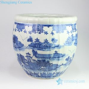 RZOY12 China reigon with river in dream blue and white arris porcelain pot