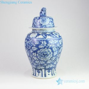 RZOY13 Lion tip lid hand painted peony blue ceramic jar