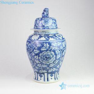 RZOY13 Lion tip lid hand painted peony blue ceramic jar