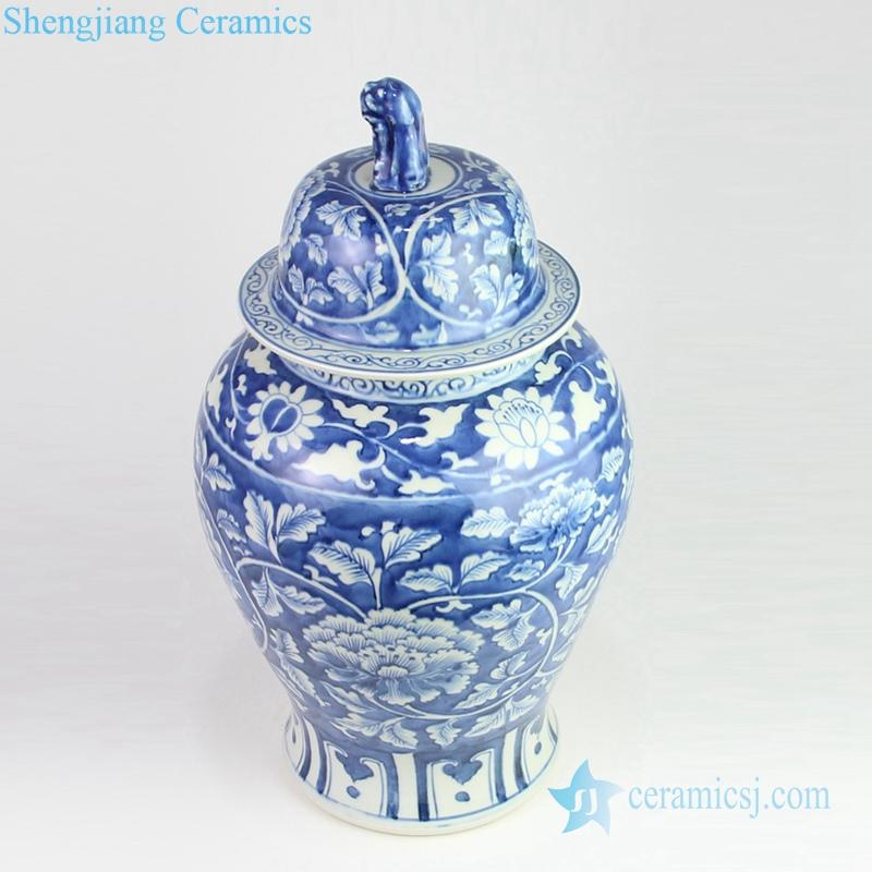 peony blue ceramic jar