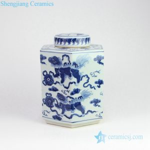 RZOY14 Lion playing with silk ball pattern ceramic jar
