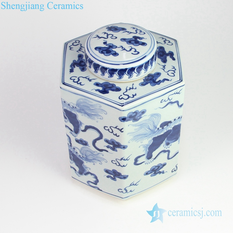 lion playing with silk porcelain jar
