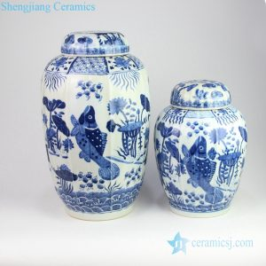 RZOY16-A/B Blue and white Jingdezhen high skill artisan hand painted carp porcelain jar