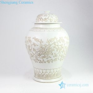 RZOY17 Korean style hand carved floral withe porcelain jar