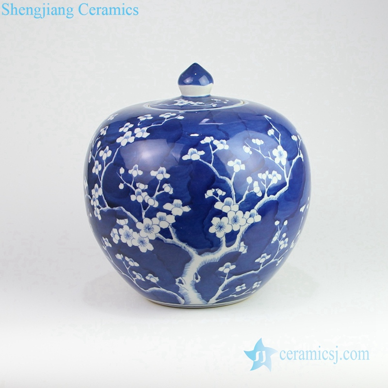 small ceramic jar in deep blue