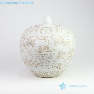 RZOY19 Milk glaze hand carve brown fish pond pottery jar