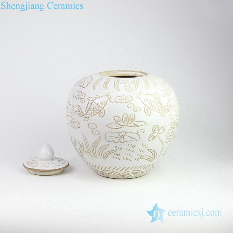 hand carve fish pond pottery jar