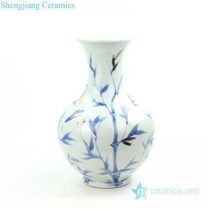 RZOY20 Blue and white hand painted bamboo with gold leaf porcelain lamp body