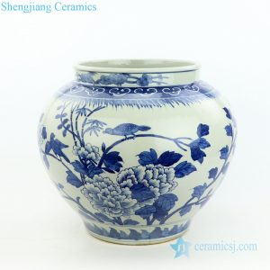 RZOY22 Blue and white hand painted peony and bird porcelain vase