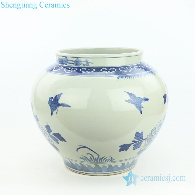 peony and bird porcelain vase