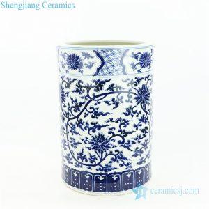 RZOY23 Ceramist made interlock branch floral porcelain umbrella stand