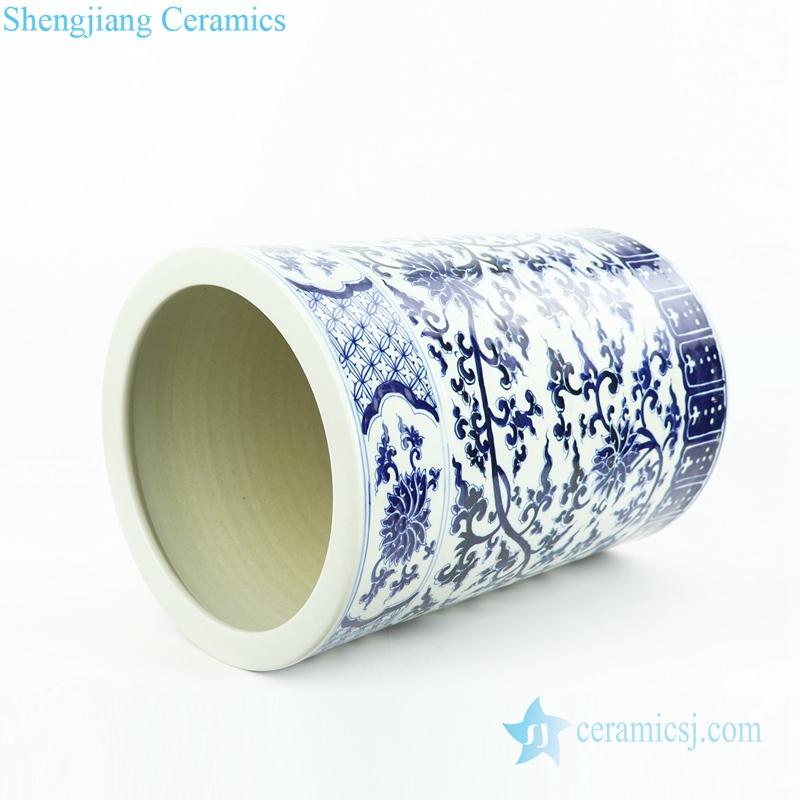 interlock branch floral porcelain umbrella stand